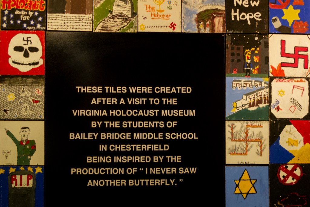 Tiles created by child artists and young artists after a visit to Virginia Holocaust Museum - 1