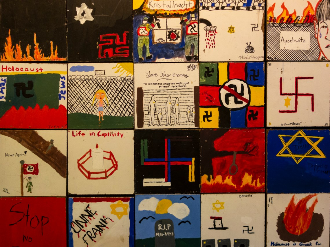 Tiles created by child artists and young artists after visit to Virginia Holocaust Museum, Richmond