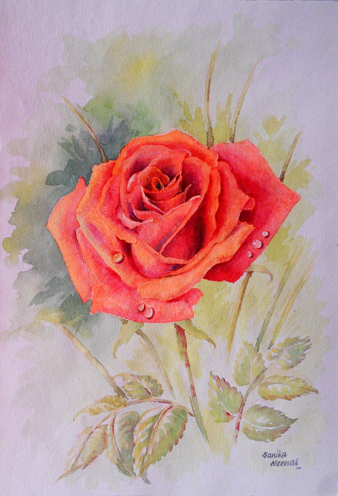 Red Rose - 3, painting by Sanika Dhanorkar, watercolour on handmade paper, 14 x 10 inches