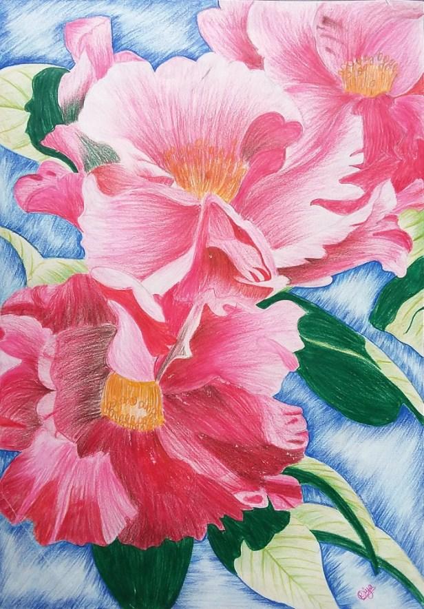 Roses, painting by young artist Riya Patwardhan from Abhinav English Medium School, Pune
