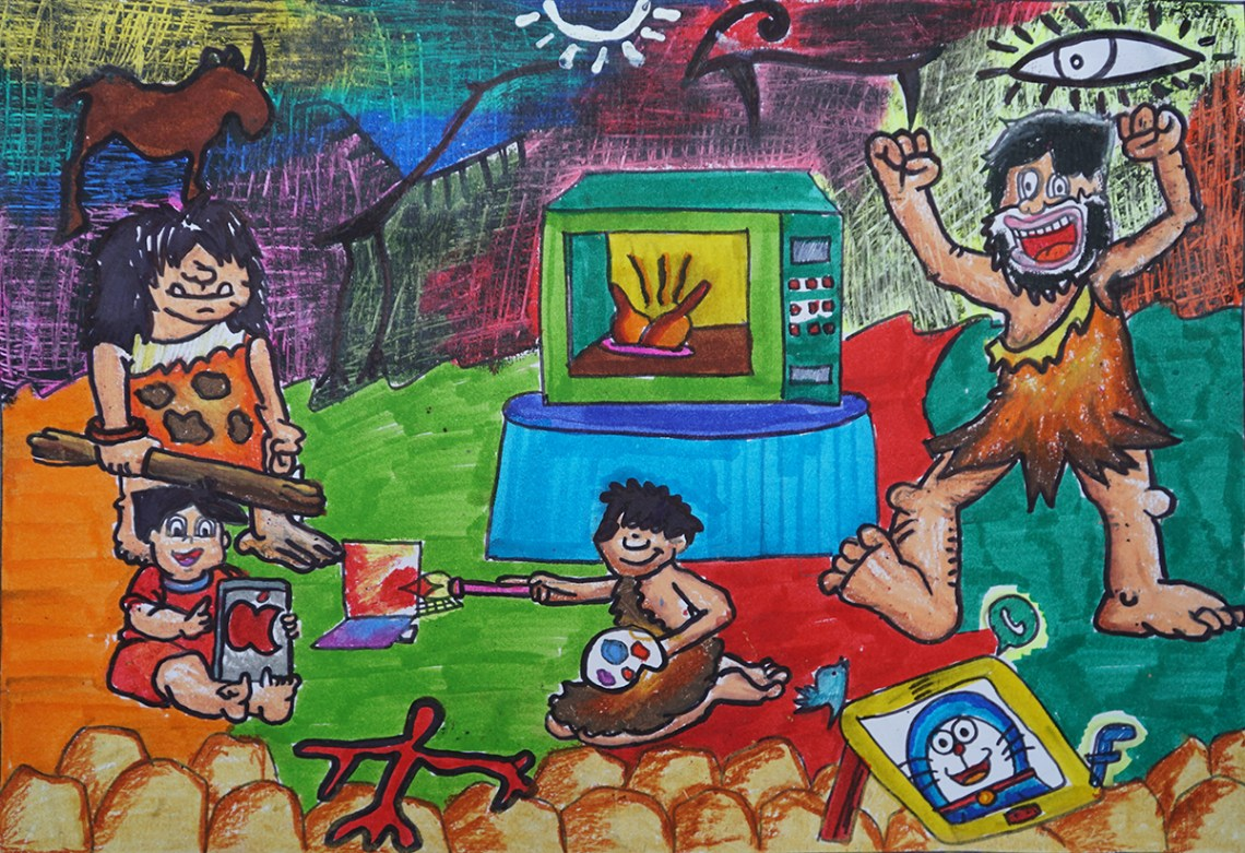 prize winning painting by Ayushi Sen from Science Day child art competition