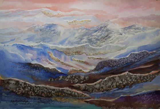 Himalayan mountain ranges, painting by Chitra Vaidya