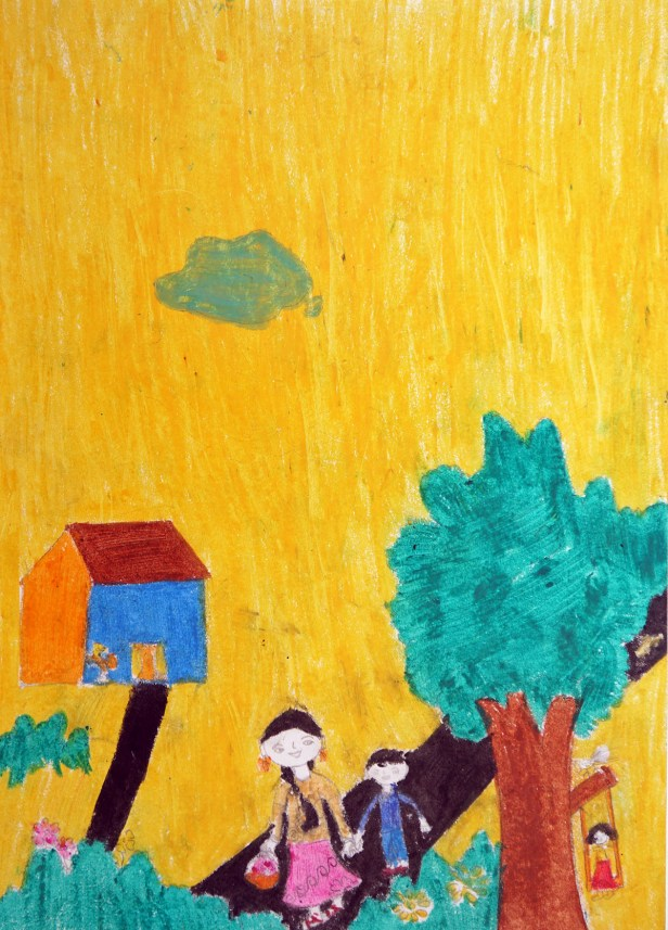 Painting by Kajal Pravin Baraf, medal winner in Khula Aasmaan art contest