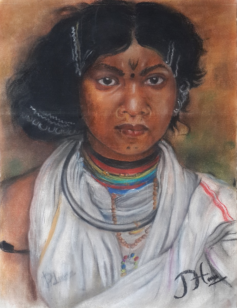 Tribal woman, painting by young artist Pradeep Himirika from Khula Aasmaan