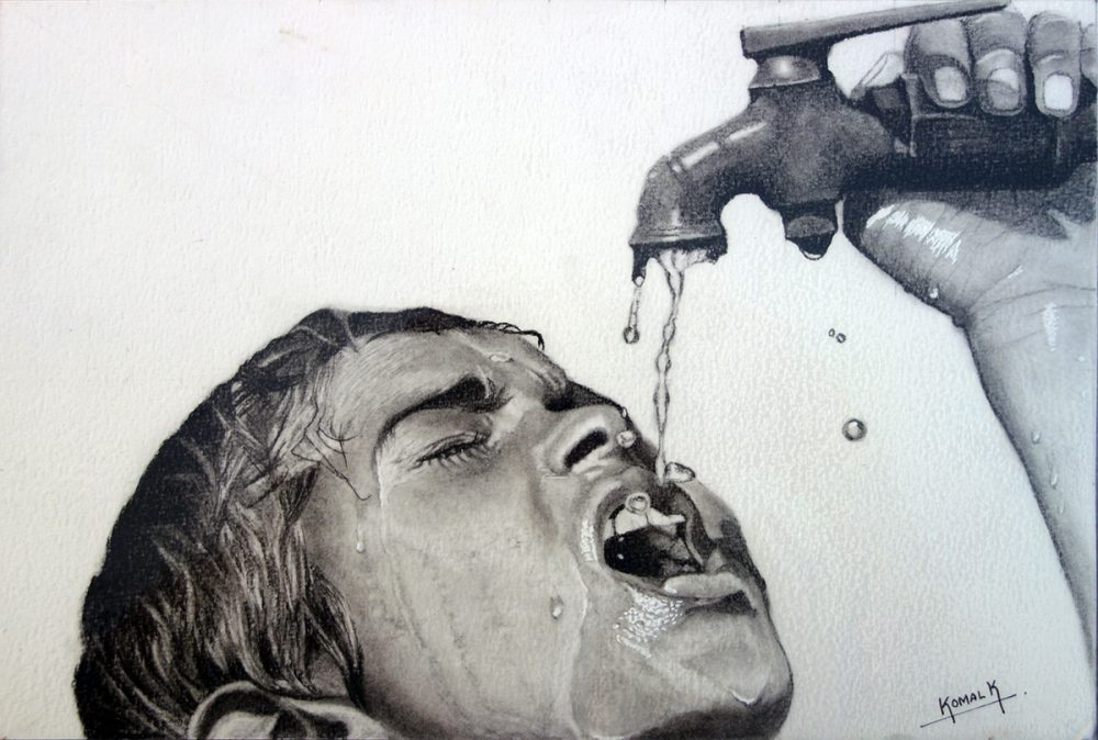 Save Water, painting by young artist Komal Kumthekar to highlight universal access to clean water and safe water for all.
