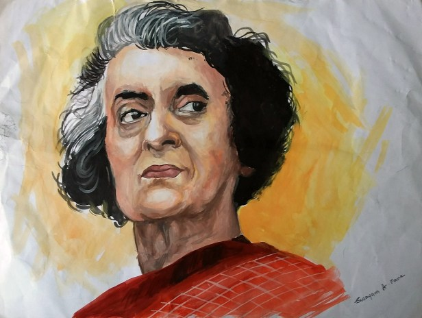 Indira Gandhi painting by Swayam Mane - young artist from Khula Aasmaan