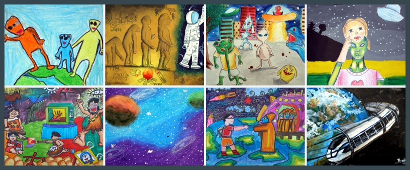 prize winning paintings from Science Day children's art competition