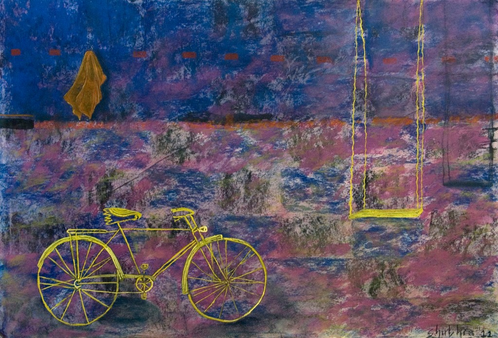 An inviting evening, painting by artist Shubhra Chaturvedi, Mixed Media on Paper, 15 x 22 inches