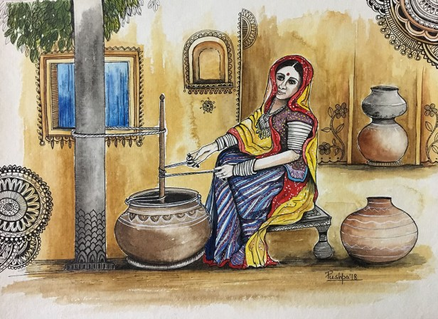 Indian Village Woman churning Buttermilk, painting by Pushpa Sharma, Watercolour & Pen on Handmade paper, 11 x 15 inches