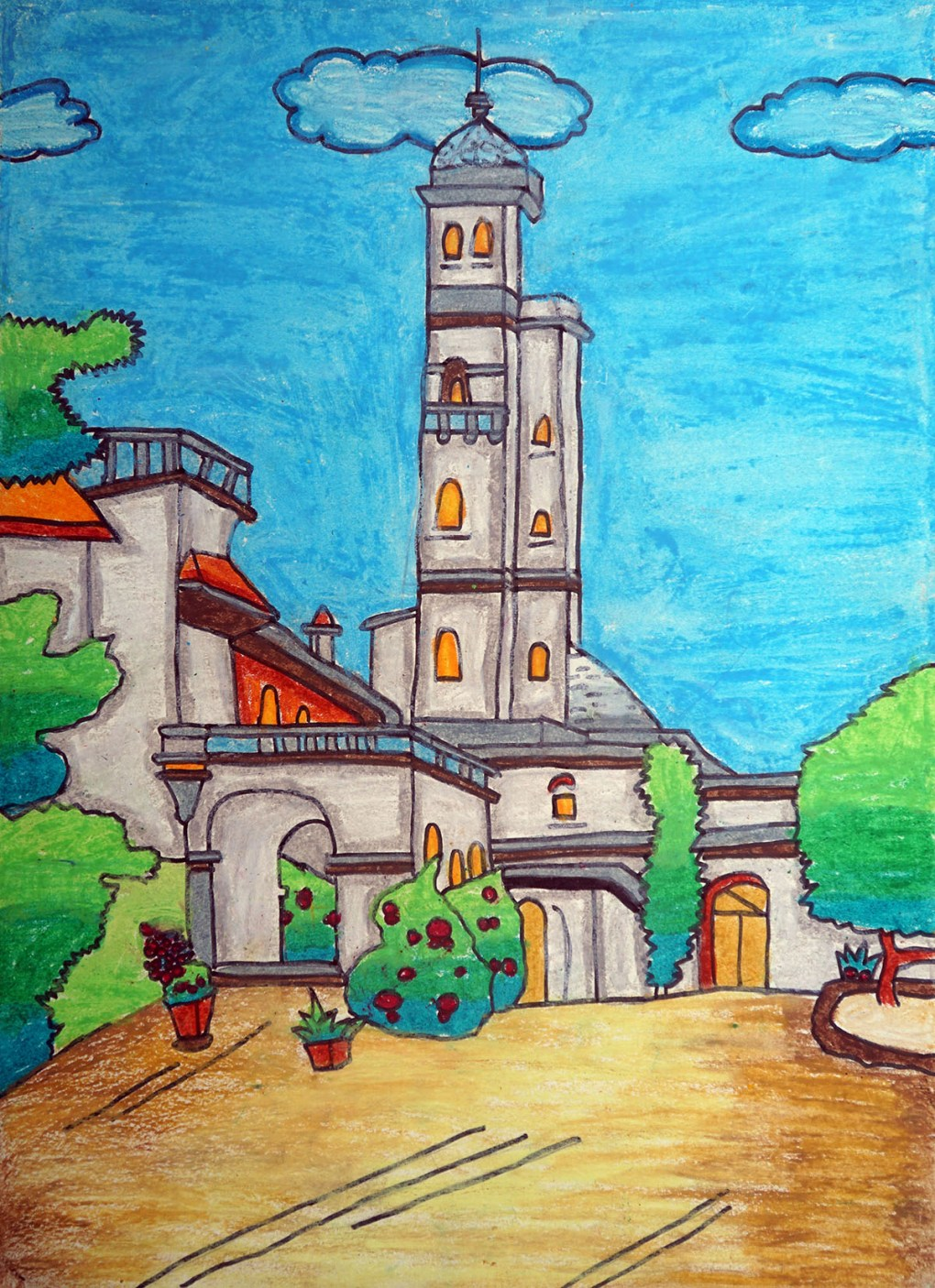 Pune university painting by child artist Siddharth Karambelkar from DES School, Pune - medal winner from Khula Aasmaan child art competition