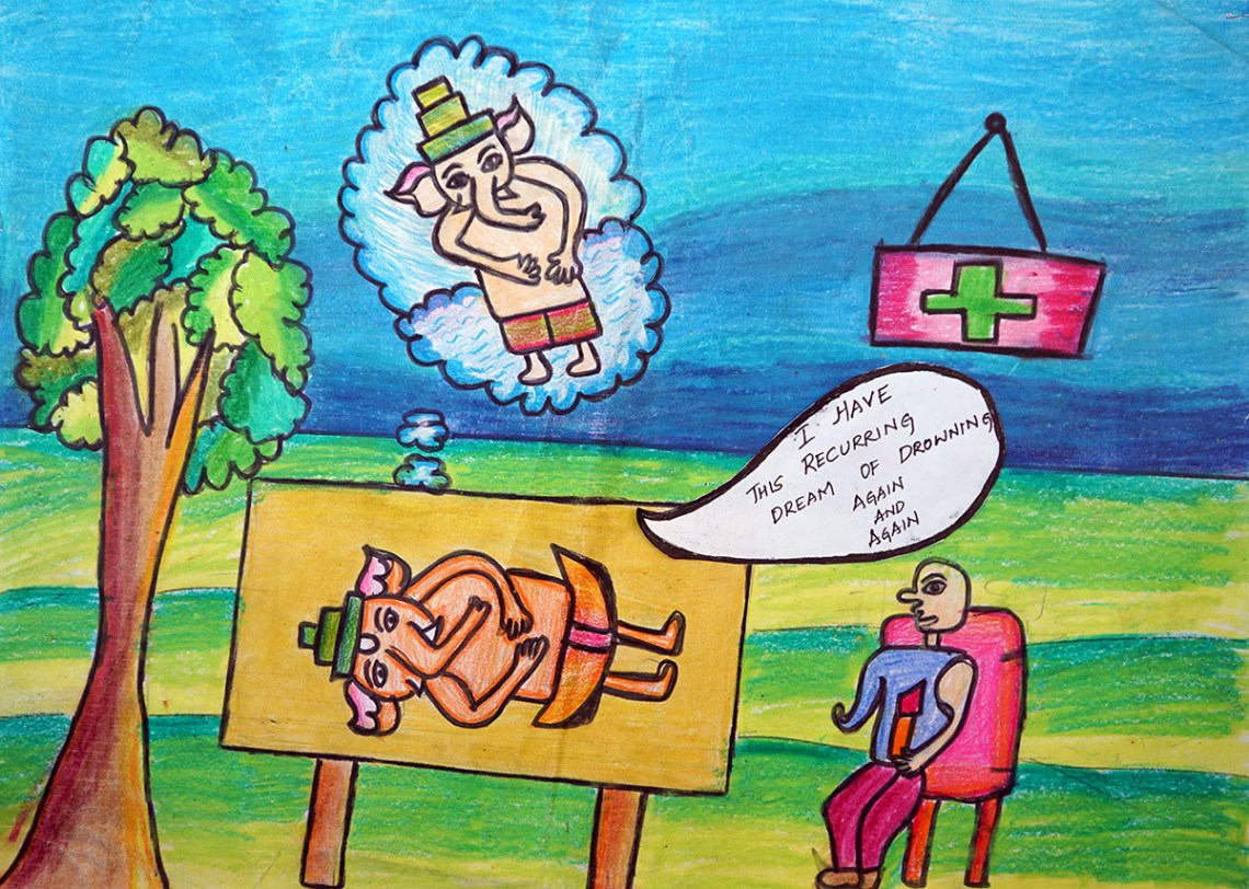 Painting by Prerana V, Carmel High School, Bangalore - medal winner at Khula Aasmaan children's painting competition