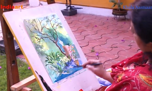 Watercolour painting demo by artist and art teacher Chitra Vaidya