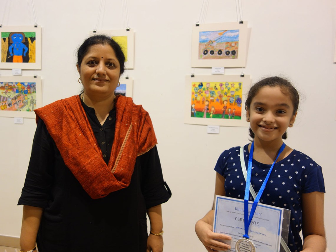 Art educator Chitra Vaidya with Samruddhi Mullerpatan at Khula Aasmaan art exhibition of medal winning artworks at Mumbai - October 2017