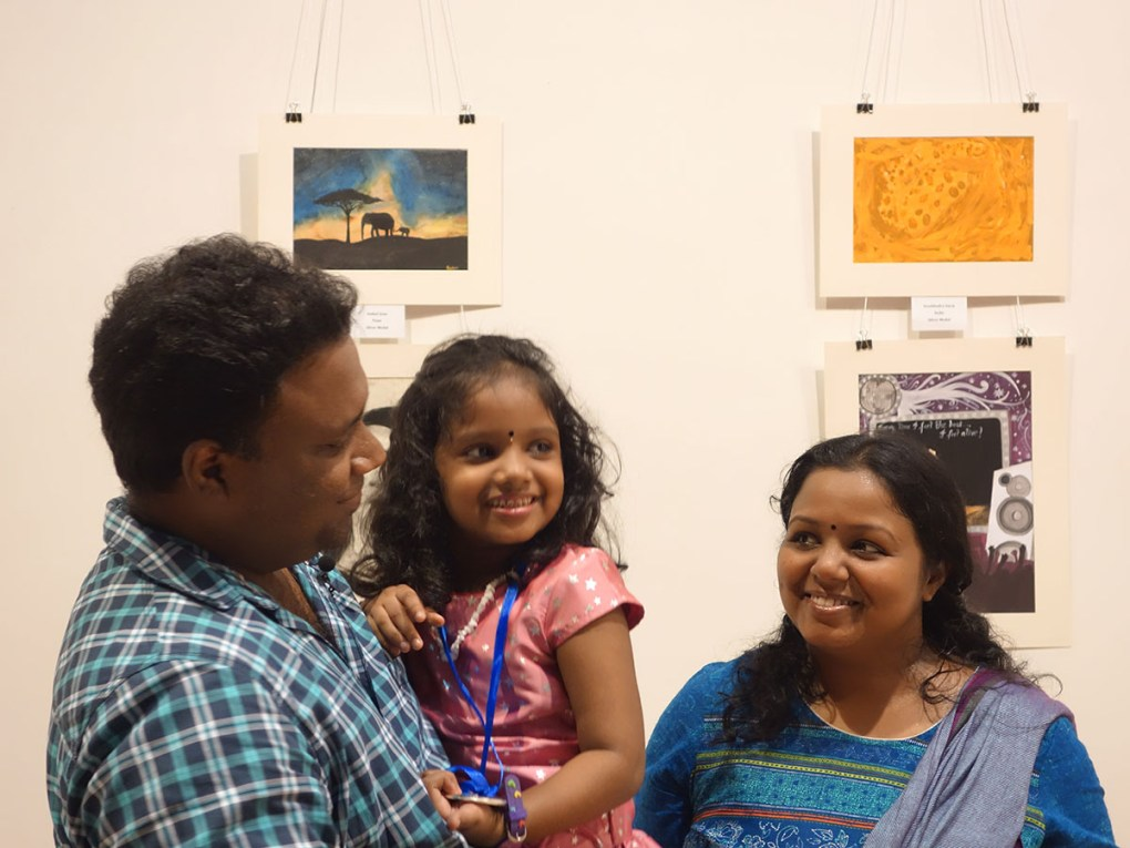 Sreebhadra Suraj with her parents at Khula Aasmaan art exhibition of medal winning artworks at Mumbai - October 2017