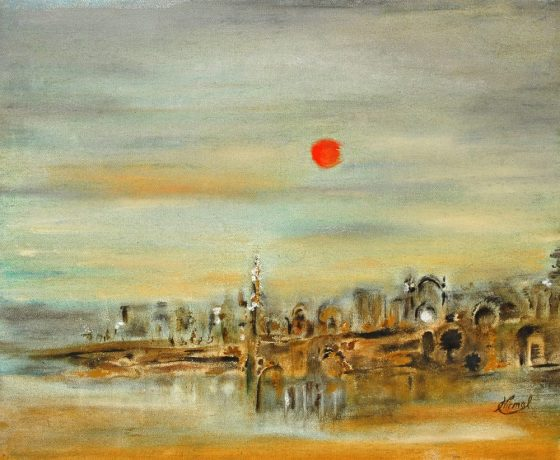 Before Sunset, painting by Nirmal Pathare, Oil on Canvas, 18 x 22 inches