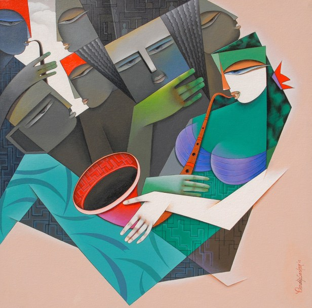 Music of Love, painting by Pradip Sarkar, Acrylic on Canvas, 30 in x 30 inches (part of TRIO - art exhibition at Mumbai)