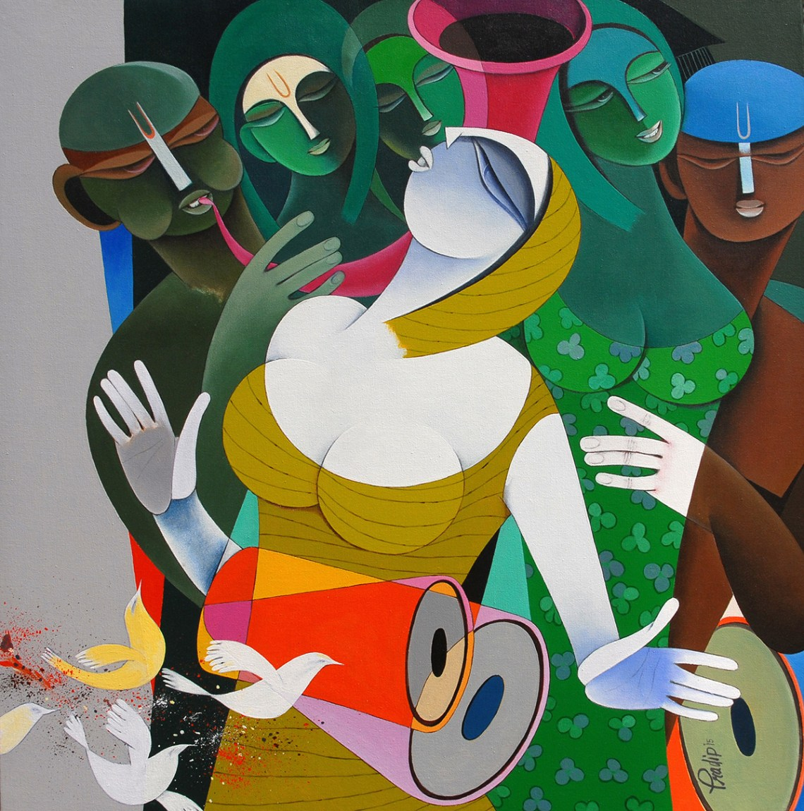 Rhythm and Melodies - IV, painting by Pradip Sarkar, Acrylic on Canvas, 30 in x 30 inches ( part of TRIO, the art exhibition at Mumbai)