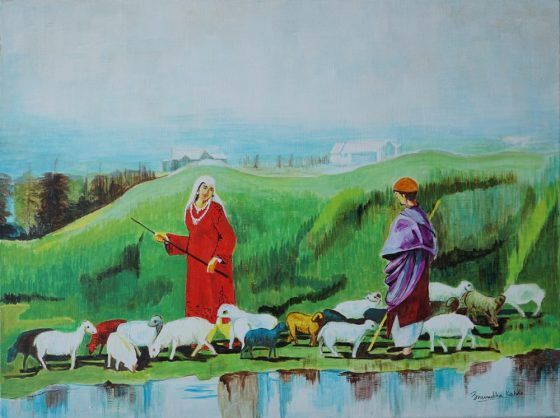 Call of the Valley, painting by Anuradha Kabra of the shepherd and Kashmiri girl