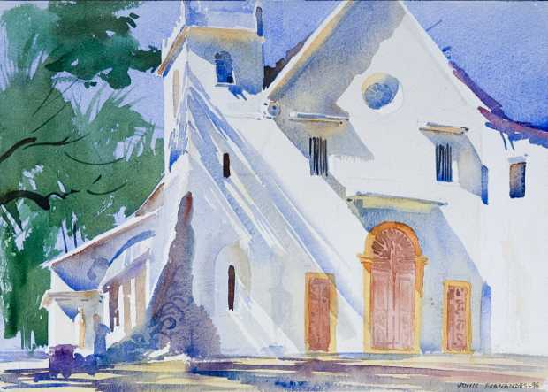 Chapel Wall, Painting by John Fernandes, Watercolour on Paper, 10 x 14 inches