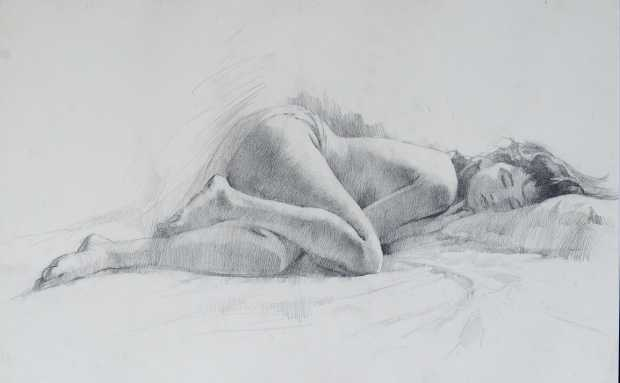 Reclining, Pencil on Paper, 15 x 24 inches