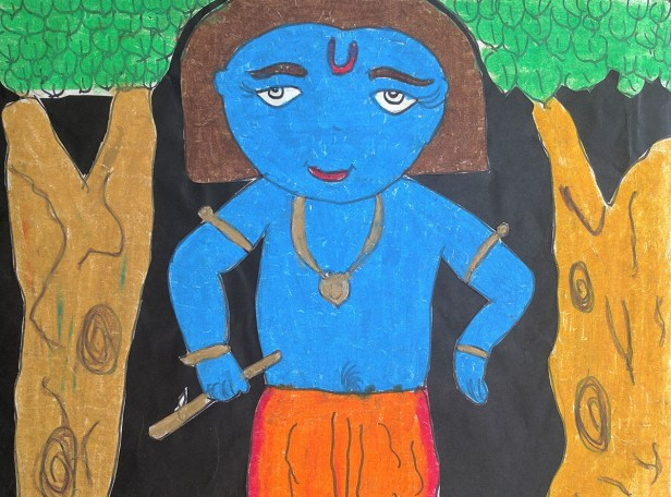 Painting by Arushi Nisal, Somaiya School, Mumbai. This painting received a silver medal in art contest for children by Khula Aasmaan.