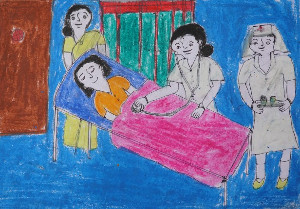 Doctor painting by Shilpa (class 9) is her dream painting. Shilpa is a student of Varwada ashramshala for Girls, which is a school for tribal girls (adivasi girls)