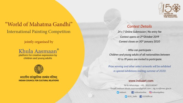 World of Mahatma Gandhi - international painting competition jointly organised by Khula Aasmaan and Indian Council for Cultural Relations (ICCR)