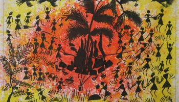 Warli painting of Holi festival is a medal winning artwork from Khula Aasmaan painting competition