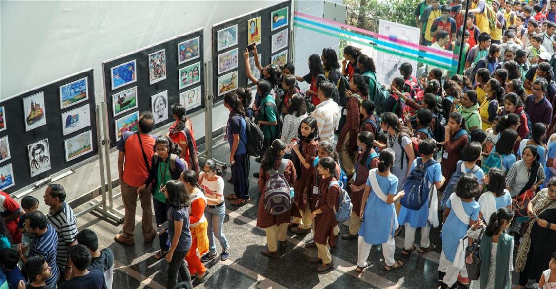 Huge enthusiasm at children's art exhibition and student art exhibition featuring medal winning paintings by Khula Aasmaan at IISER Pune