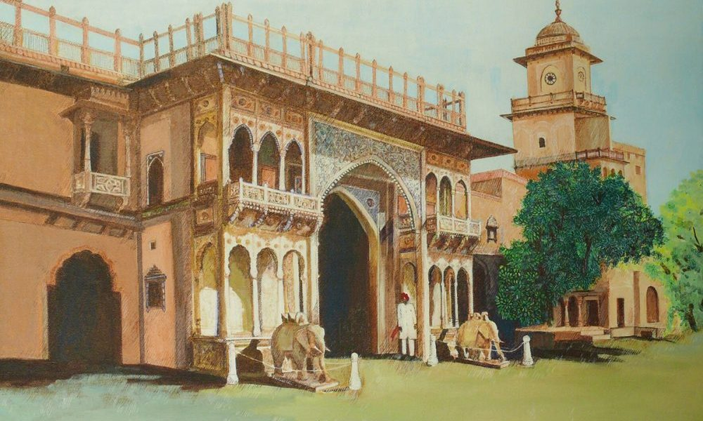 Jaipur Palace Entrance Gate, painting by Sandhya Ketkar, Acrylic & Ink on Canvas, 24 x 30 inches