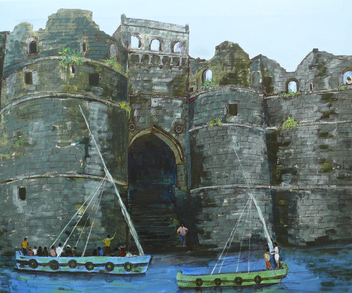 The gate in the heritage site of Murud Janjira sea fort, painting by Sandhya Ketkar, Acrylic & Ink on Canvas, 30 x 36 inches