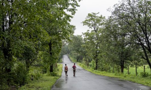 Children going to school on a Saturday morning in rural Maharashtra
