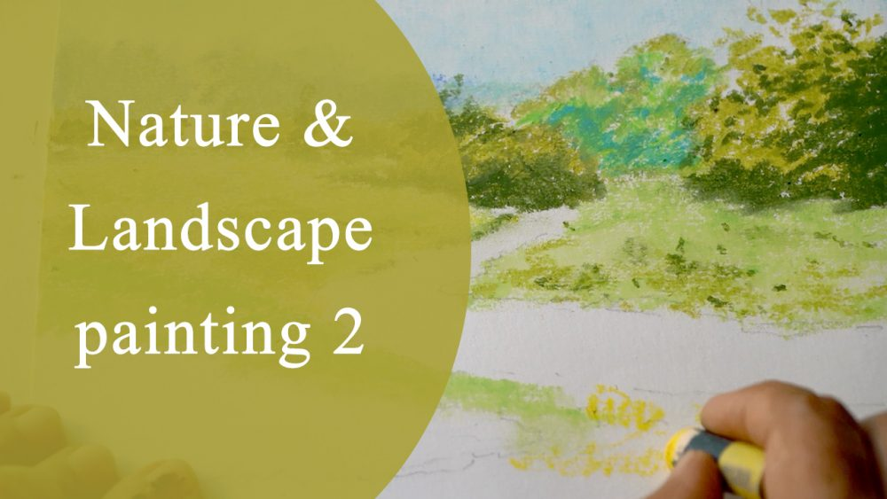 Art tutorial video on how to paint landscape and nature using oil pastels