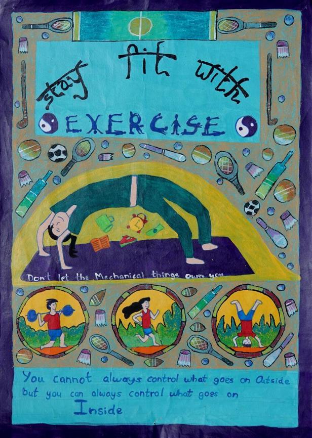 1st Prize winner - 'Importance of exercise' by Lavanya Jawane of Prestige Public School, Pune