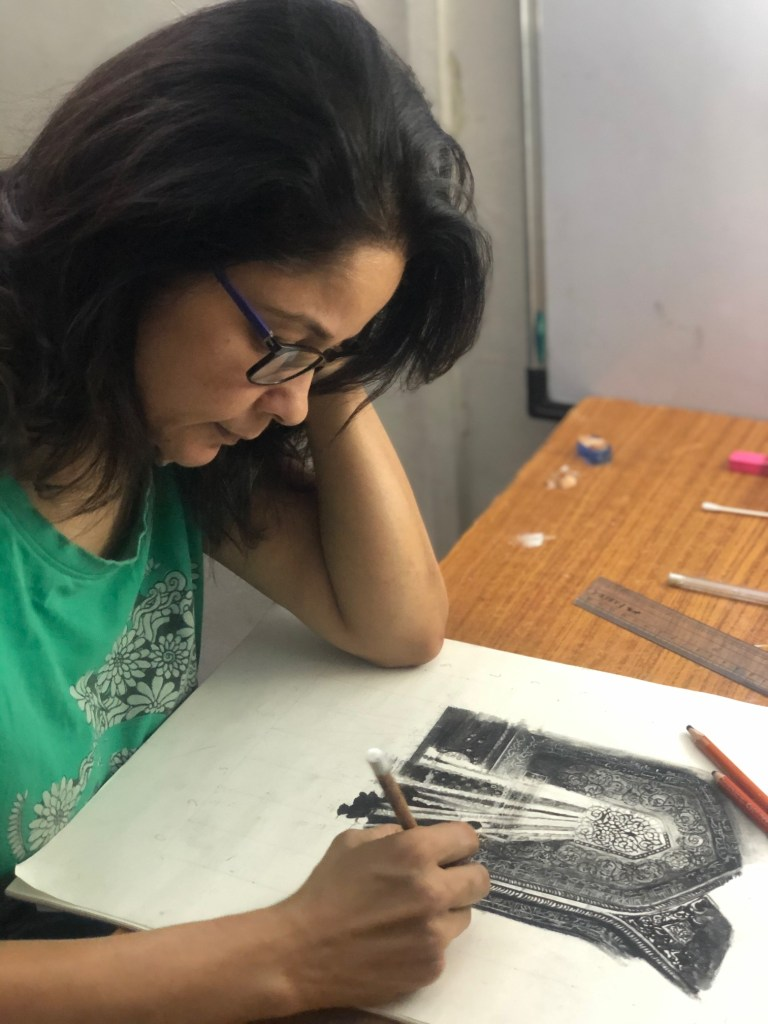 "Nalini Dhir from Pune works on her artwork on day 1 of lockdown for ""Art in the time of coronavirus - hope and positivity through creativity"""
