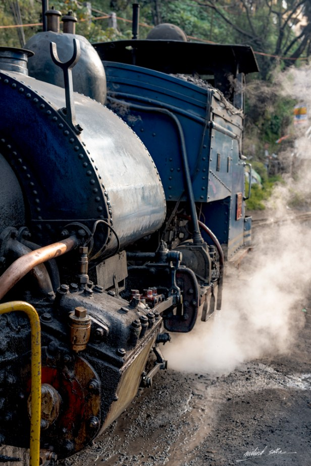Steam locomotive of the toy train at Darjeeling puffing its way (2017)