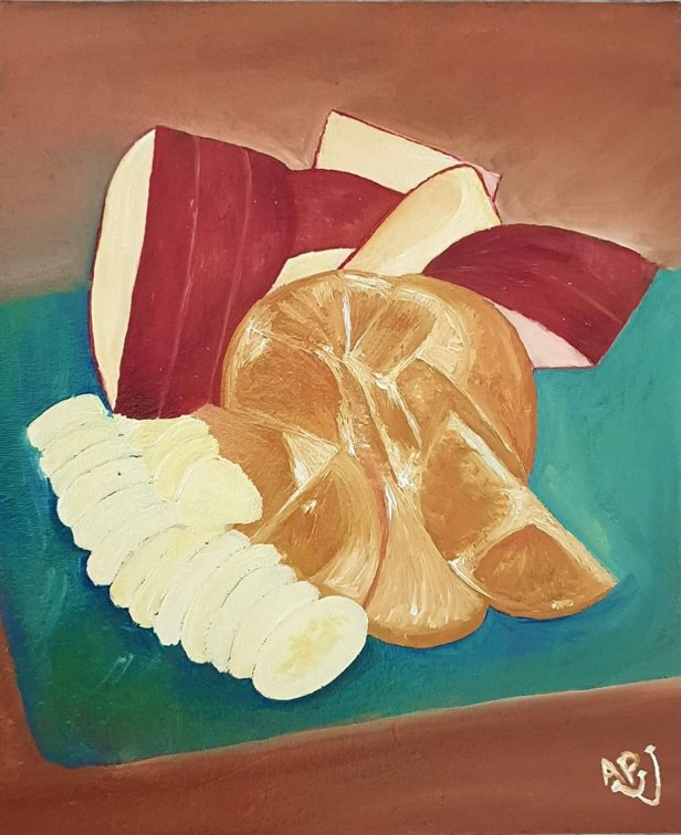 Fruit on plate for breakfast, oil on canvas board by Dr. Arya Paul, Kochi