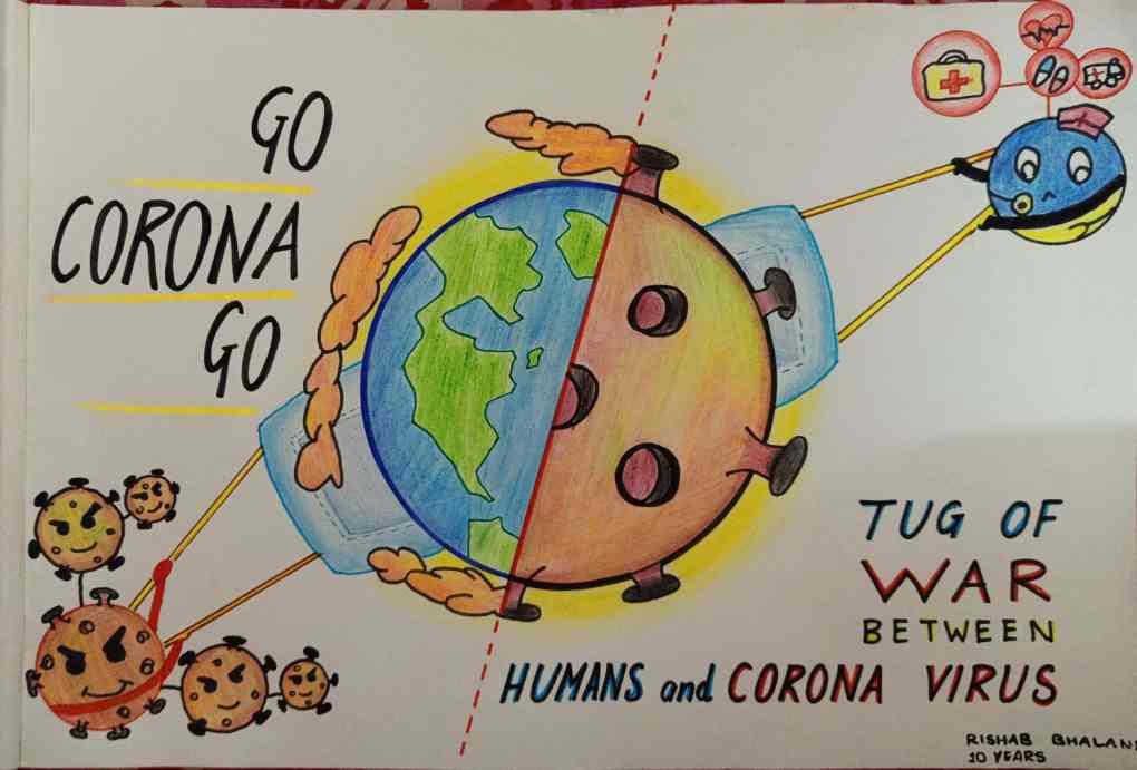 Go Corona Go, painting by Rishab Bhalani, Mumbai