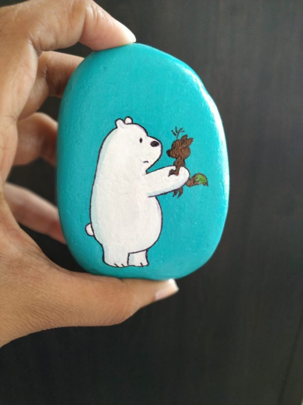 Ice bear - handpainted rock by Malobika Chakraborty, NCR