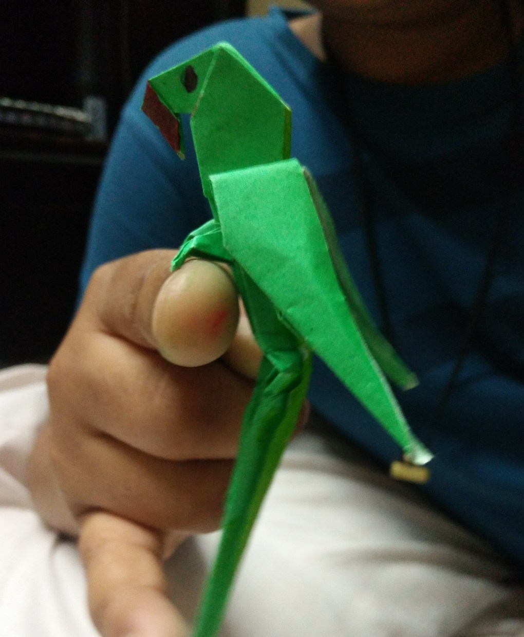"Origami Parrot by Aahutosh Sharma, Panchkula, done during lockdown due to coronavirus pandemic for the art initiative ""Art in the time of coronavirus"""