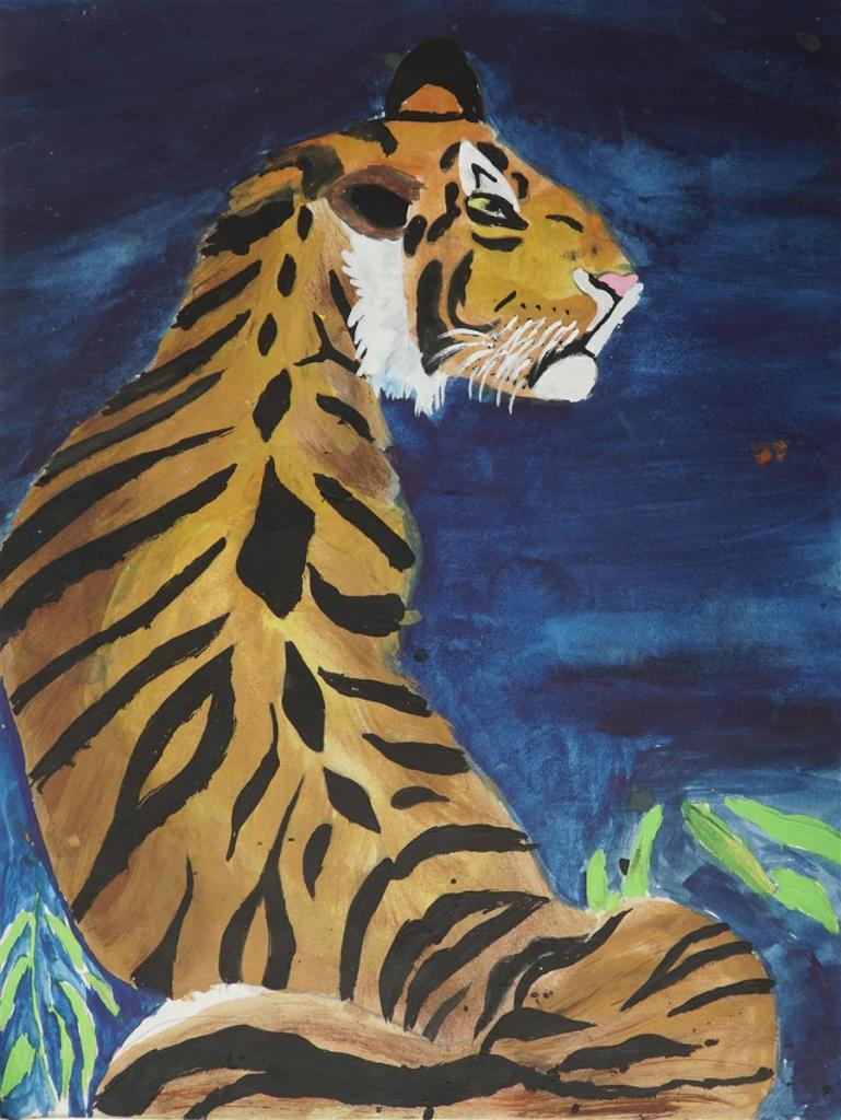 Tiger painting by Arpit Katkhede (11 years), Shree Jageshwar English Primary School, Pune - silver medal in Khula Aasmaan children's art competition for January to March 2019