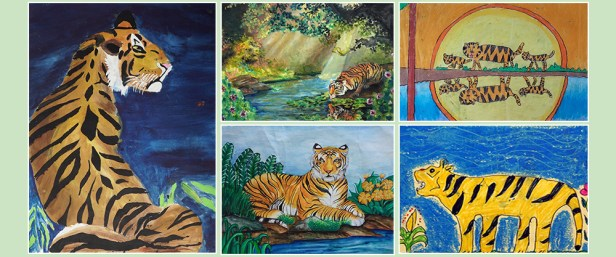 Celebrate International Tiger Day with tiger paintings by children
