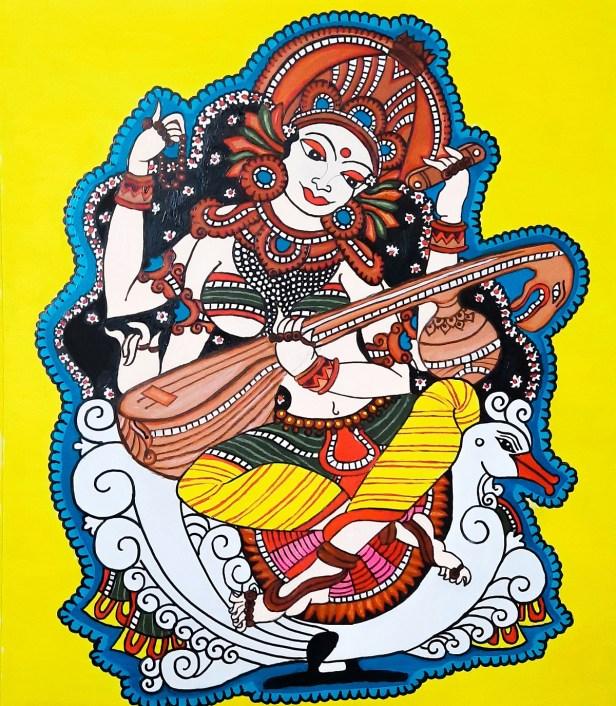 Maa Saraswati, painting by Rishika Makam