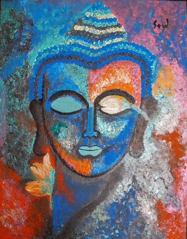 """Peace, painting by Soudarya C. Mahesh for the art project """"Art during Covid-19 pandemic"""""""