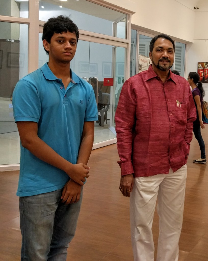 Aalok Sathe with Vijay Vaidya at Milind Sathe's solo photography exhibition at Nehru Centre Mumbai (2016)