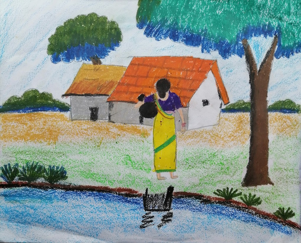 Painting by Aheli Ghosh (9 years) - art in the time of coronavirus pandemic during the nationwide lockdown