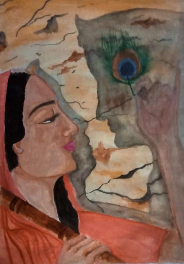 Eternal Love, painting by Aritraa Nandy (class 12),Jyotirmoy Public School,Kolkata
