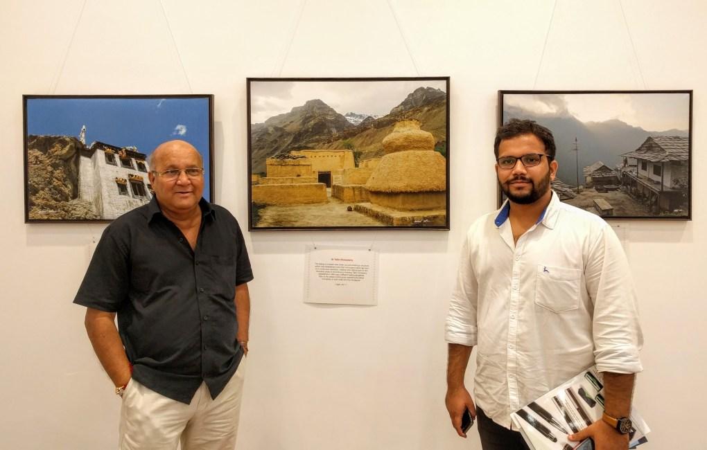 Artist Vijay Kulkarni with son Viraj at Milind Sathe's solo photography show at Nehru Centre, Worli, Mumbai (August 2016)
