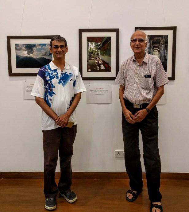 Badminton coach Mr. Manohar Godse with son Jayant at Milind Sathe's solo photography exhibition at Nehru Centre Mumbai - fundraiser for Nana palkar Smruti Samiti