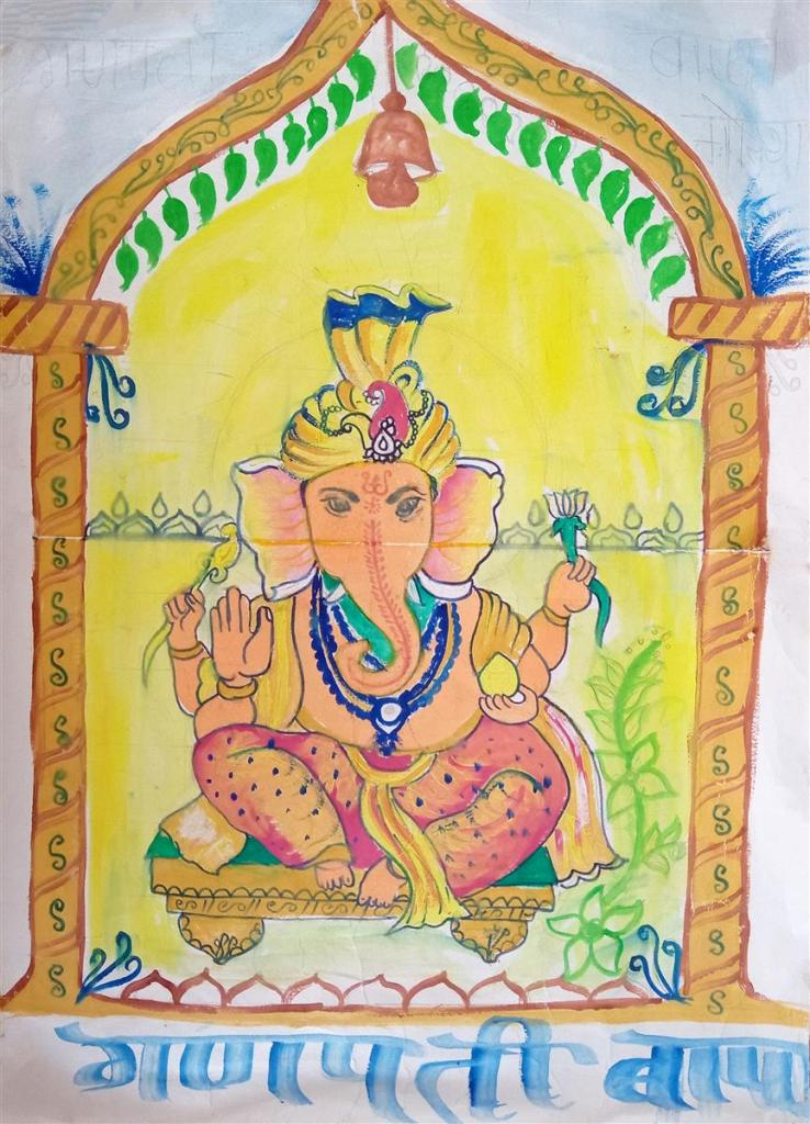 Painting by Dharmraj Jayram Raut (class 12), Gonde Ashramshala, Dist. Palghar, Maharashtra - Honorable mention in Khula Aasmaan kids drawing contest for July to Sept 2019